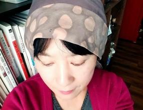 천연염색 두건도트무늬로 염색후두건으로 탄생~이쁘죠?^^